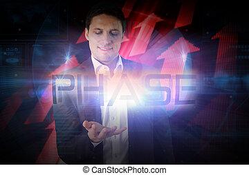 phase, présentation, mot, homme affaires