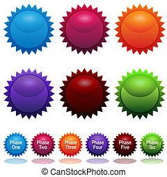 Phase Sun Star Sticker Icon Set