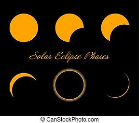 phases., éclipse, isolé, arrière-plan., noir, solaire, vector.