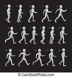 phases, de, étape, mouvements, homme, dans, marche,...