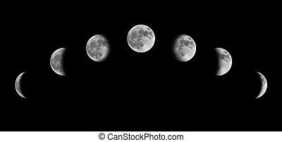 phases lune, depuis, croissant, à, entiers