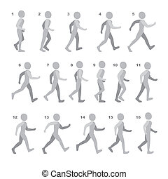 Phases of Step Movements Man in Walking Sequence for Game ...