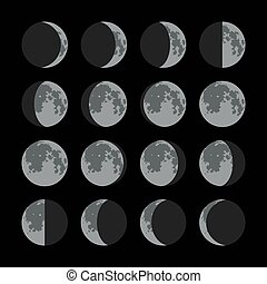 Phases of the Moon Icons Set. Vector