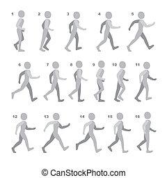 phases, séquence, jeu, marche, étape, animation, blanc,...