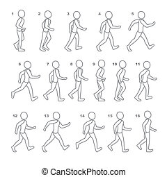 phases, séquence, jeu, marche, étape, animation, homme, mouvements