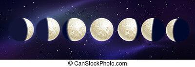 phases, vecteur, illustration, lune
