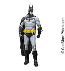 Phayao, Thailand - October 18, 2015: Batman statue isolate on a white background