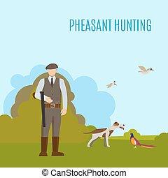 Pheasant hunting illustration