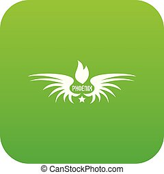 Phenix wing icon green vector isolated on white background