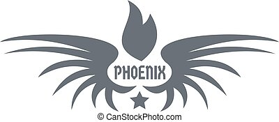 Phenix wing logo, simple gray style - Phenix wing logo....