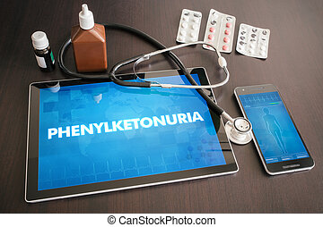Phenylketonuria (genetic disorder) diagnosis medical concept on tablet screen with stethoscope