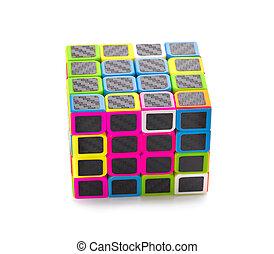 Phetchaburi, FEB 23, 2020: Rubik's cube with white background
