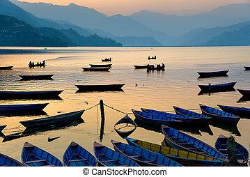 phewa, 호수, 에서, pokhara, 네팔