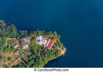Phewa Lake aerial view in Nepal