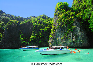 phi, île, leh, clair, andaman, thail, mer, bateaux