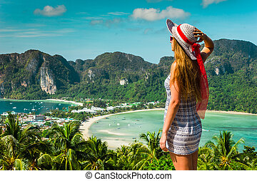 phi, île, recours, baies, fond, robe, chapeau, girl