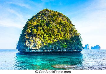 phi, maya, île, baie, thaïlande, vue