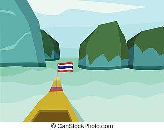 Phi phi island in flat style, vector landscape design