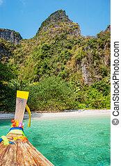 phi-phi, traditionnel, bateaux, île, leh, longtail