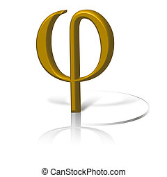 Phi symbol in gold, graphic of gold