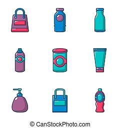 Phial icons set, cartoon style