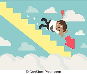 Phichit Depression of Businessman, Businessman holding a red arrow falling stairs