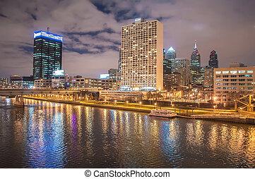 philadelphia., город, вечер, образ, филадельфия, линия...
