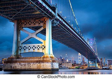 Philadelphia at dusk - Ben Franklin Bridge above...