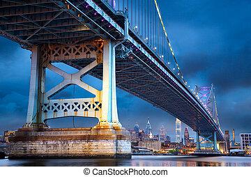 Philadelphia at dusk - Ben Franklin Bridge above...