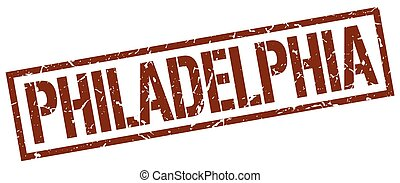 philadelphia, barna, derékszögben, bélyeg