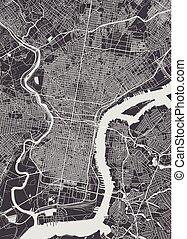 Philadelphia city plan, detailed vector map