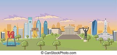Philadelphia - Cartoon skyline view of Philadelphia with...