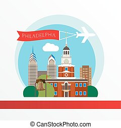 Philadelphia, detailed silhouette. Trendy vector illustration, flat style. Stylish colorful  landmarks. The concept for a web banner.