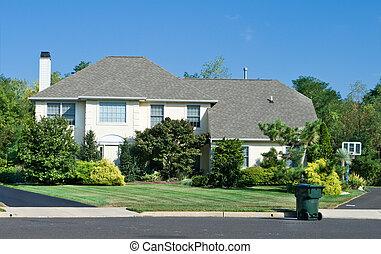 philadelphia, gezin, nicely, voorstedelijk, landscaped, p, enkel, thuis