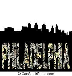Philadelphia grunge text with skyline