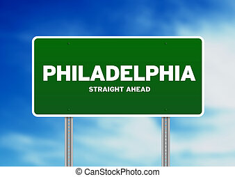 Philadelphia Highway Sign - Green Philadelphia,...