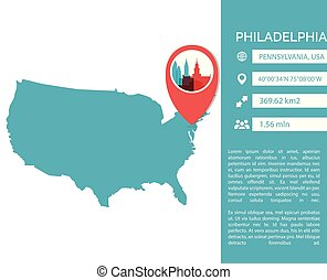 Philadelphia map infographic vector illustration
