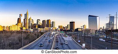 Philadelphia panorama sunset