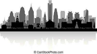 Philadelphia Pennsylvania city skyline silhouette -...