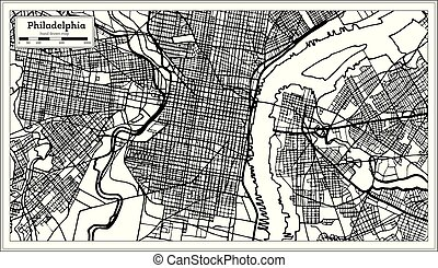 Philadelphia Pennsylvania USA Map in Black and White Color.