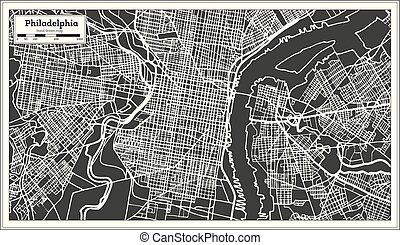 Philadelphia Pennsylvania USA Map in Retro Style.