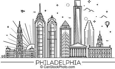 Philadelphia. Pennsylvania USA. Skyline with panorama - ...