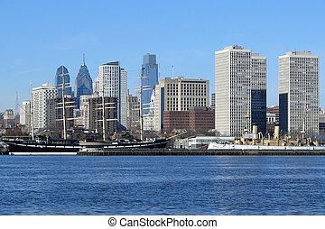 Philadelphia's scenic riverfront on a bright sunny morning.