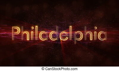 Philadelphia - Shiny looping city name text animation -...