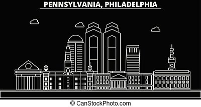 Philadelphia silhouette skyline. USA - Philadelphia vector city, american linear architecture, buildings. Philadelphia travel illustration, outline landmarks. USA flat icons, american line banner