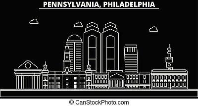 Philadelphia silhouette skyline. USA - Philadelphia vector city, american linear architecture, buildings. Philadelphia travel illustration, outline landmarks. USA flat icons, american line banner