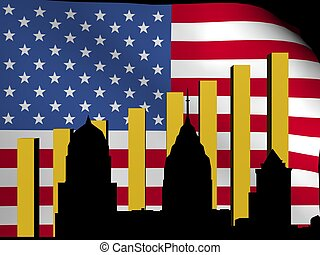 Philadelphia skyline and graph flag