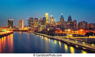 Philadelphia skyline and Schuylkill river at night, USA.