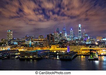 Philadelphia skyline at night, US