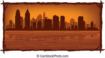 Philadelphia skyline with reflection in water